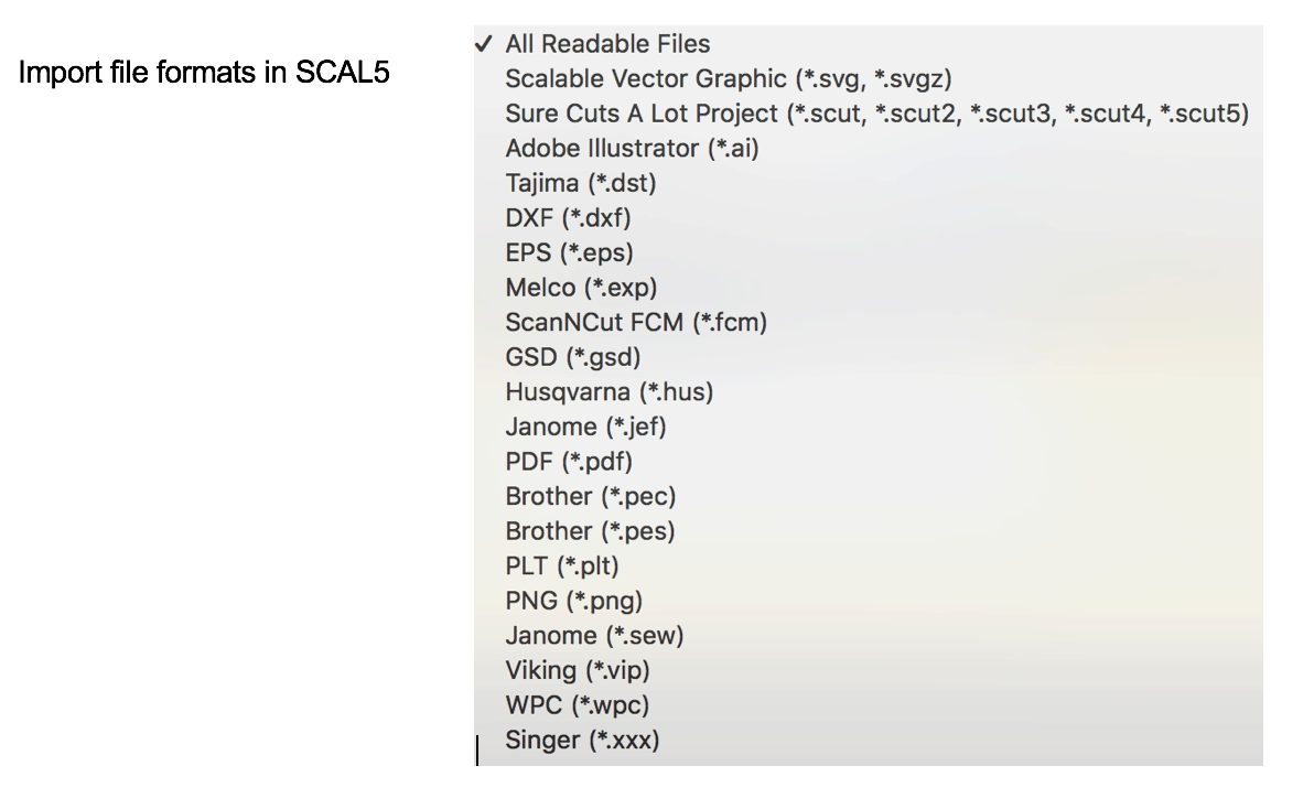 SCAL5 Import File Types