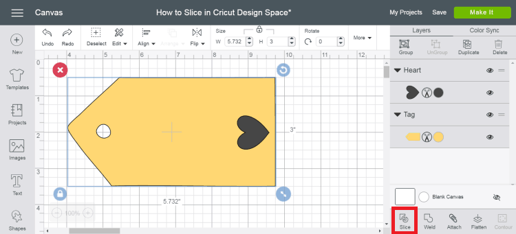 Slice Tool in Cricut Design Space