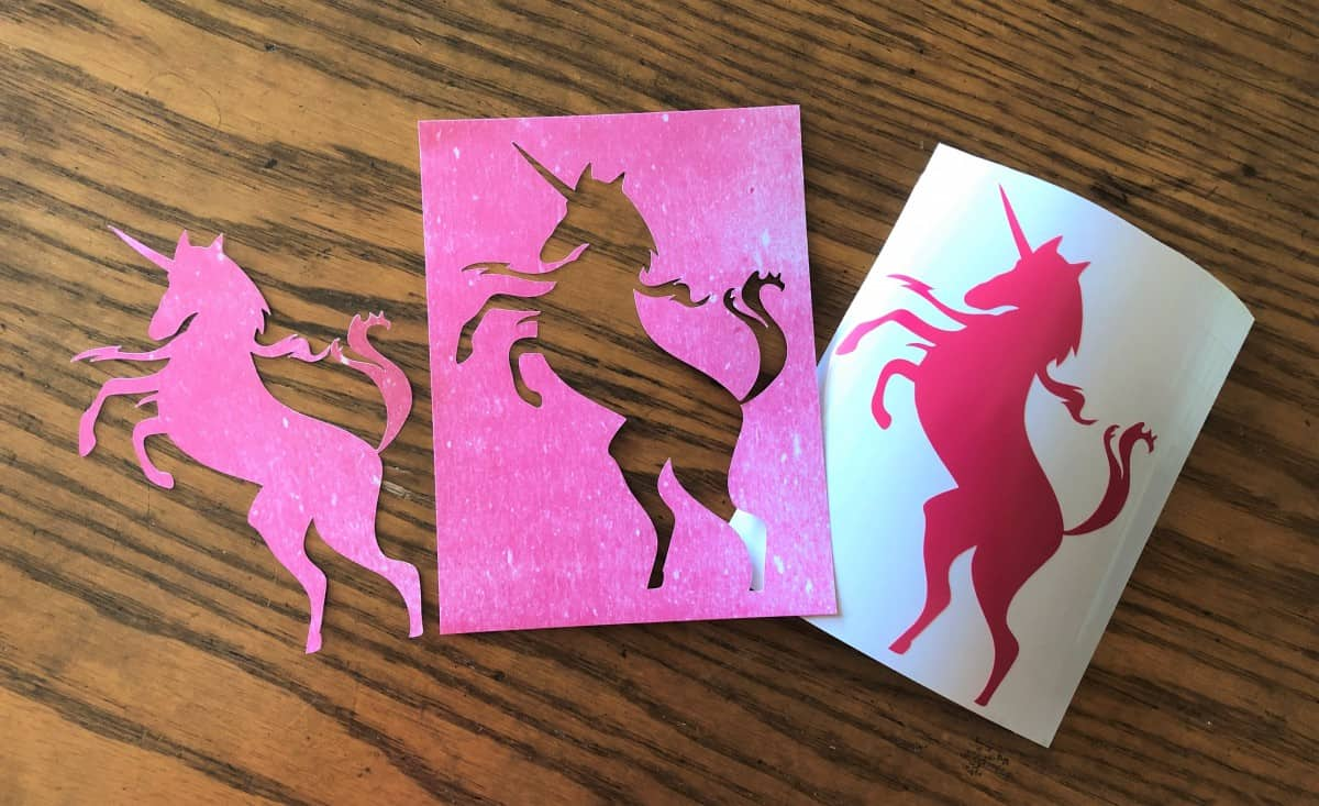 kiss cut vs die cut vinyl cardstock unicorn