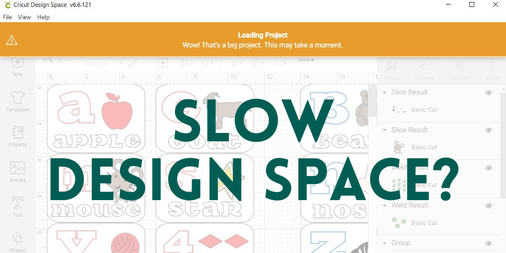 slow design space overlayed on cricut design space screen shot