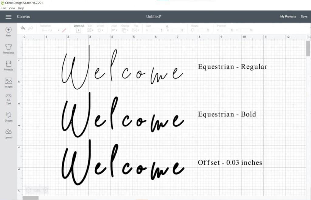thicken a font with bold and offset of 0.03 inches in cricut design space