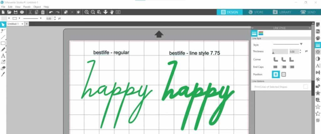 silhouette studio line style font thickening of bestlife font
